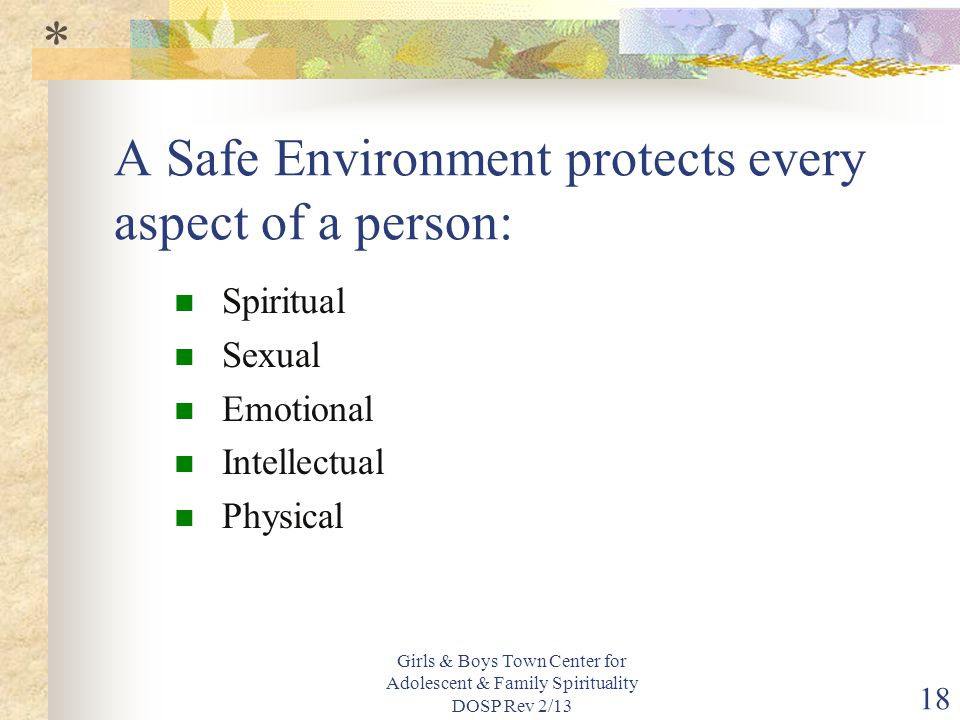 A Safe Environment protects every aspect of a person: