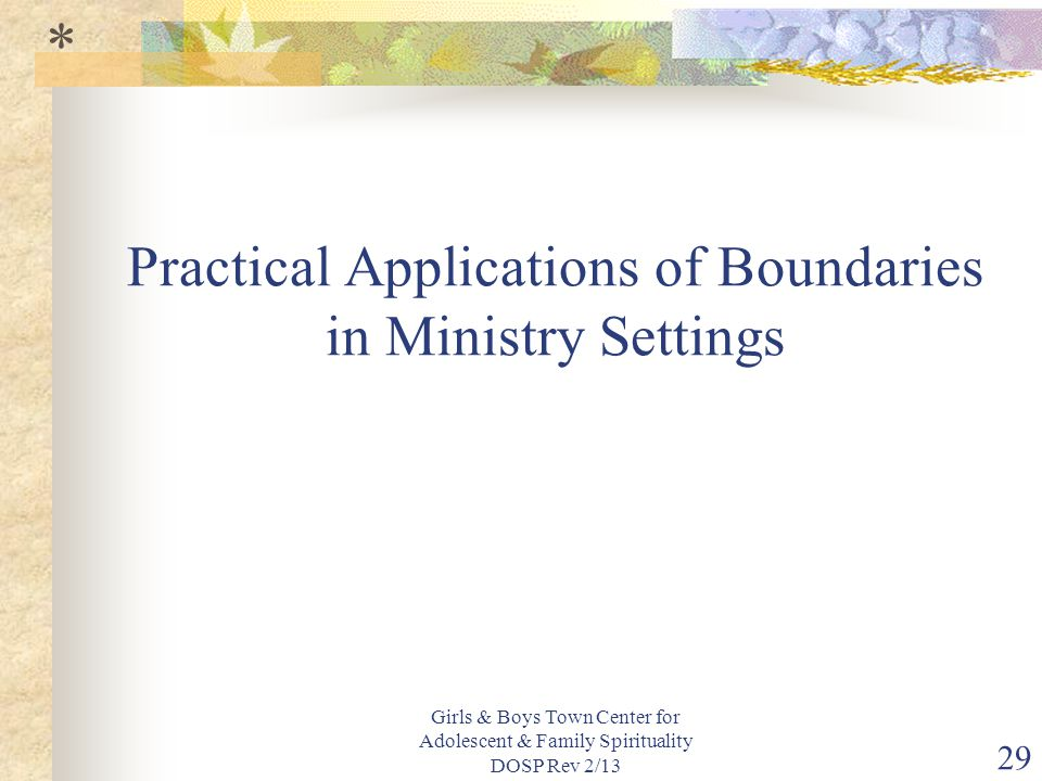 Practical Applications of Boundaries in Ministry Settings