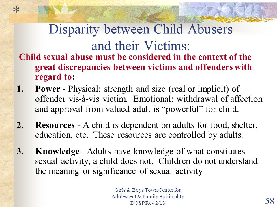 Disparity between Child Abusers and their Victims: