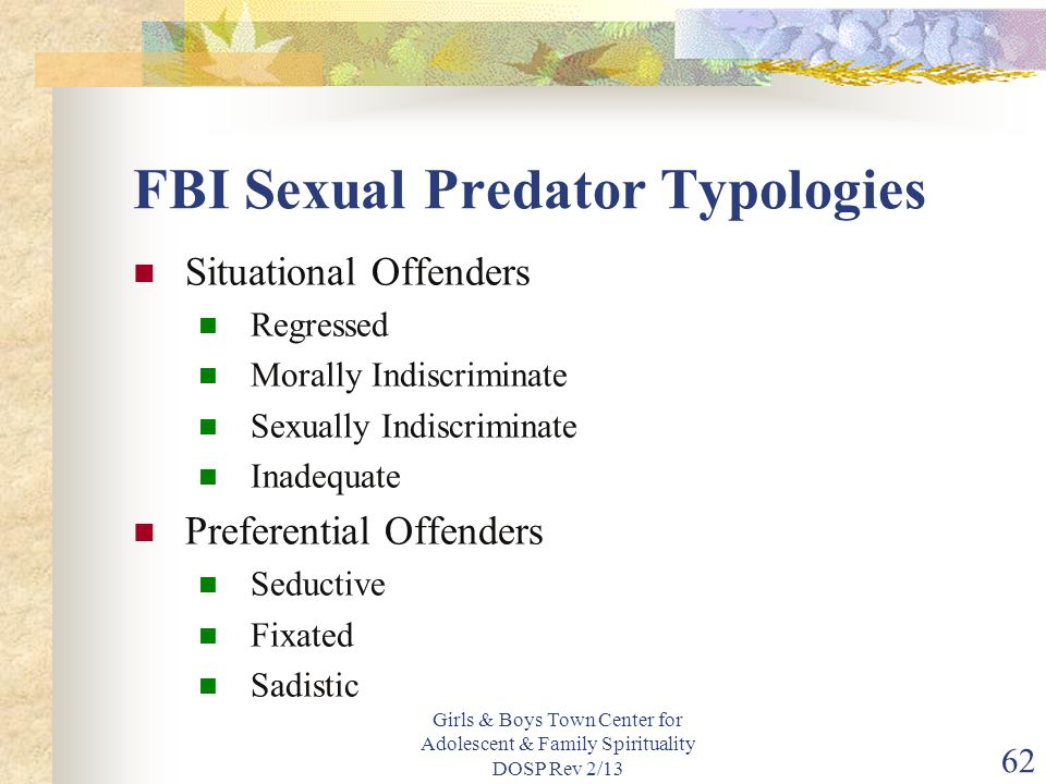FBI Sexual Predator Typologies