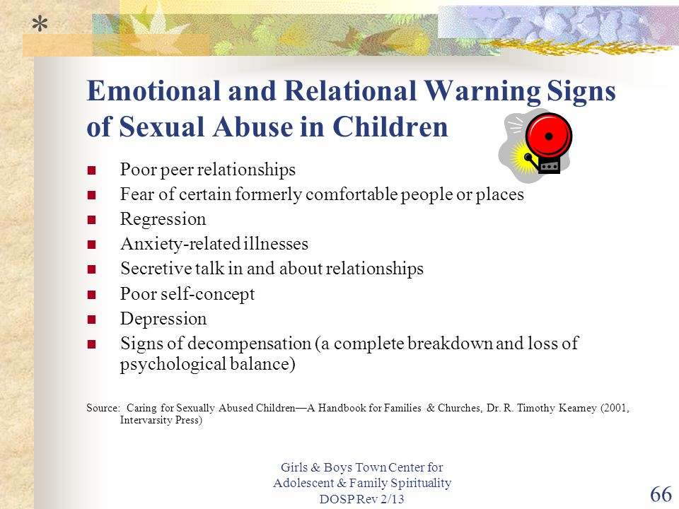 Emotional and Relational Warning Signs of Sexual Abuse in Children