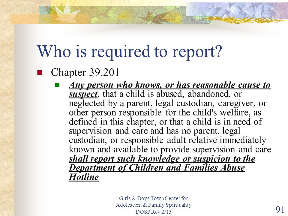 Who is required to report
