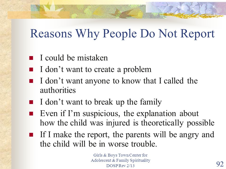 Reasons Why People Do Not Report