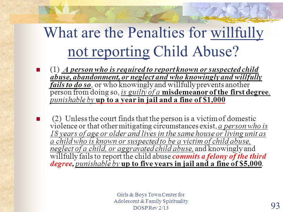 What are the Penalties for willfully not reporting Child Abuse
