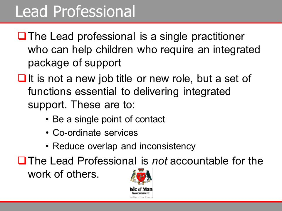 Lead Professional The Lead professional is a single practitioner who can help children who require an integrated package of support.