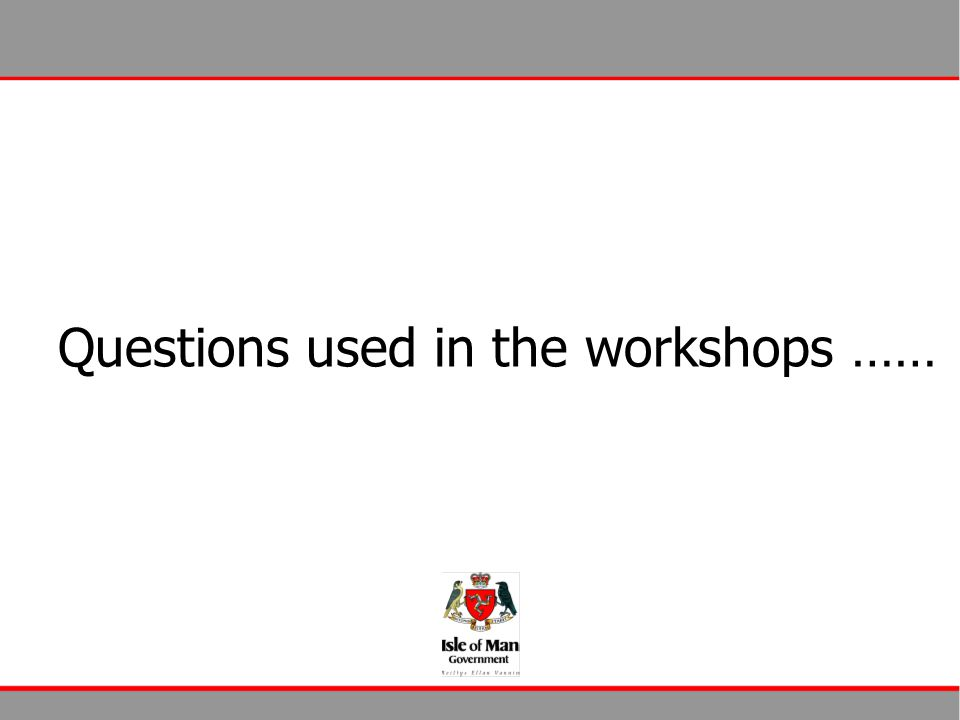 Questions used in the workshops ……