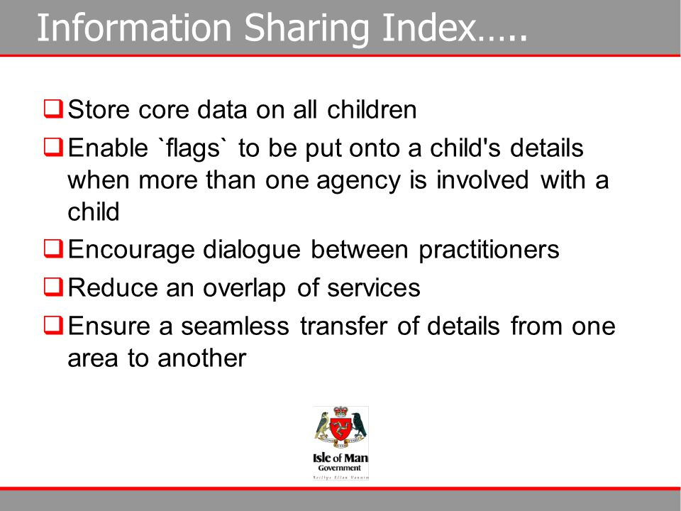 Information Sharing Index…..