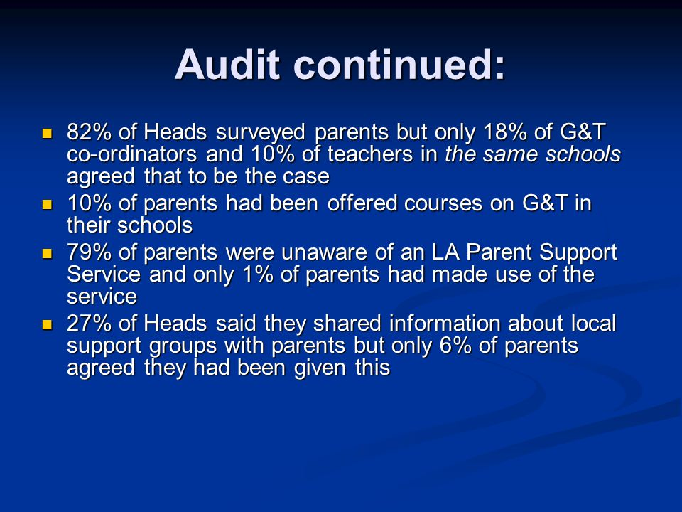 Audit continued: 82% of Heads surveyed parents but only 18% of G&T co-ordinators and 10% of teachers in the same schools agreed that to be the case.