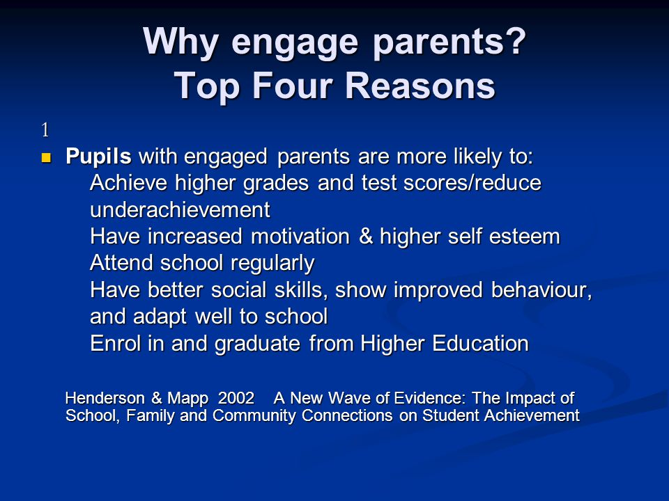 Why engage parents Top Four Reasons