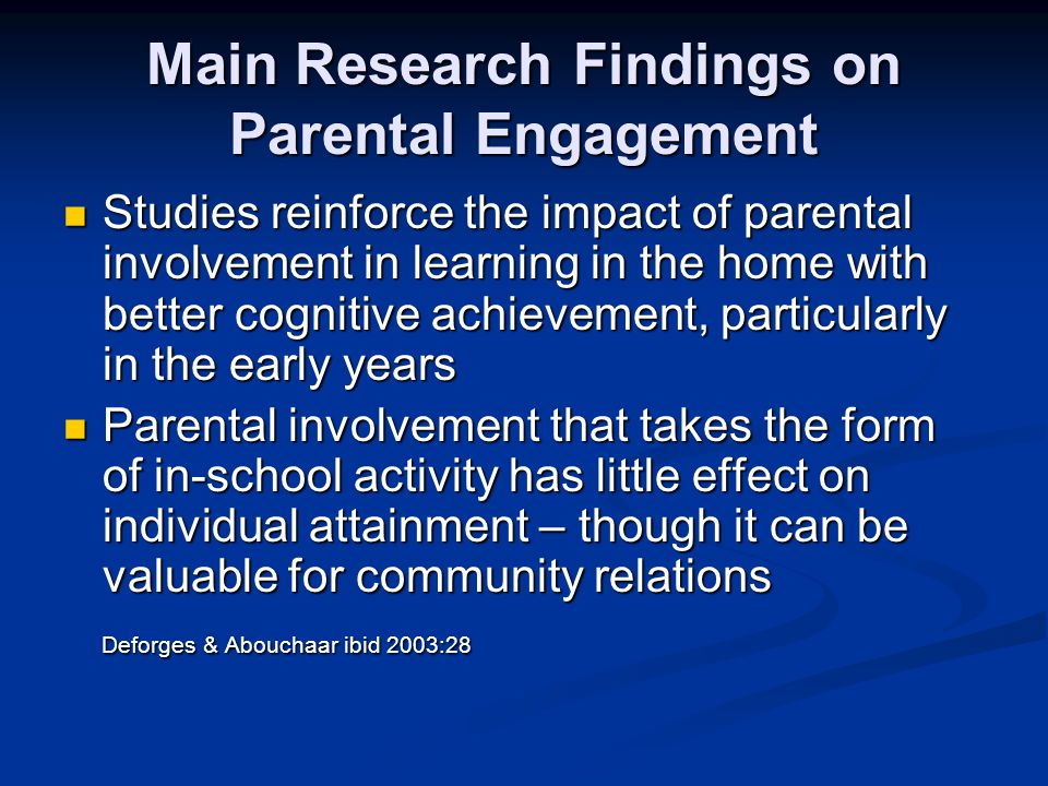 Main Research Findings on Parental Engagement