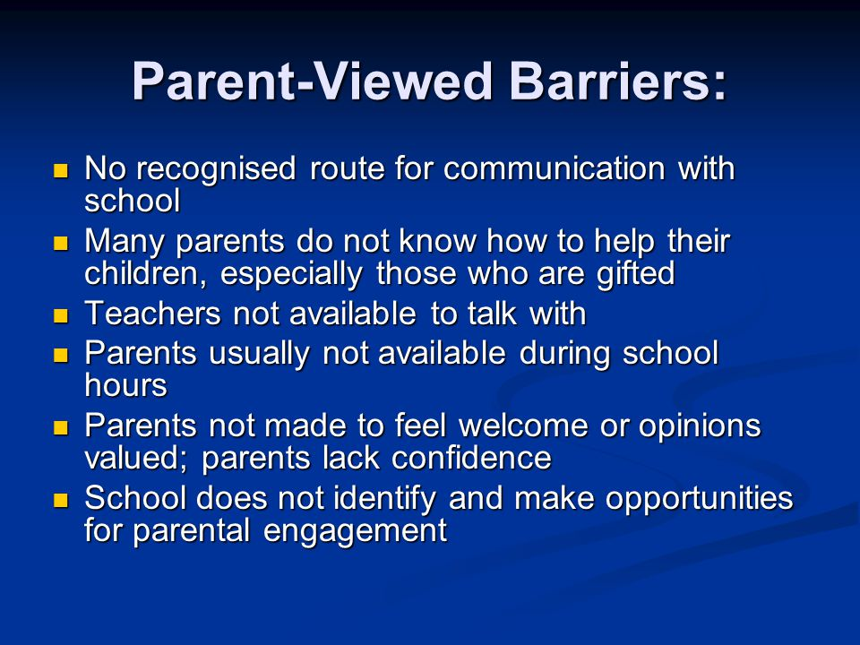 Parent-Viewed Barriers: