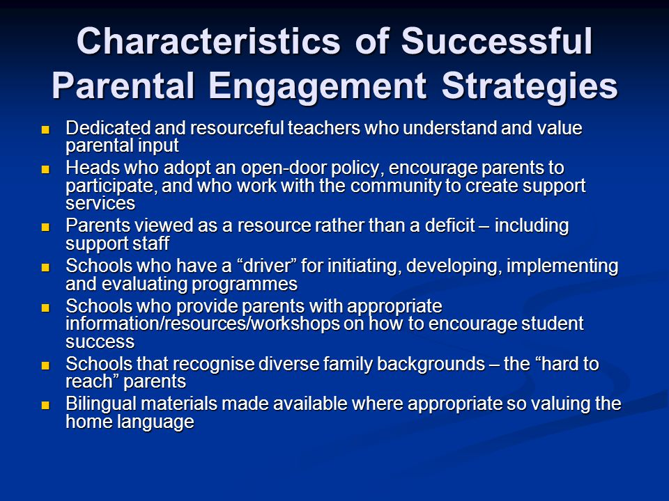 Characteristics of Successful Parental Engagement Strategies