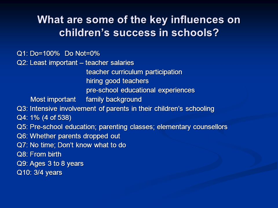 What are some of the key influences on children's success in schools