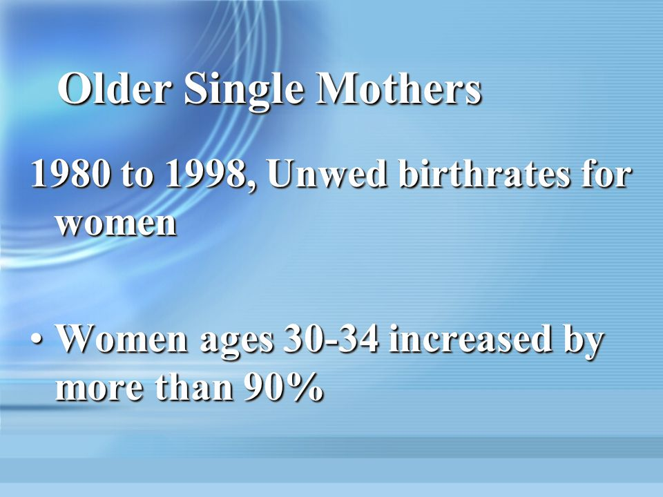 Older Single Mothers 1980 to 1998, Unwed birthrates for women