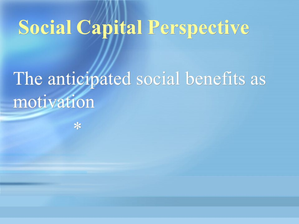 Social Capital Perspective