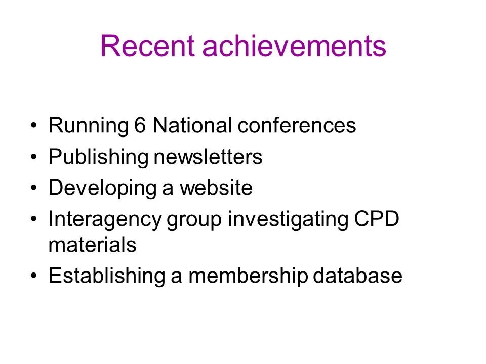 Recent achievements Running 6 National conferences
