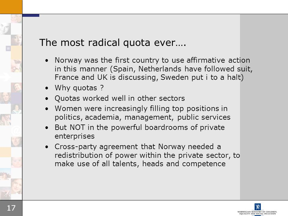 The most radical quota ever….