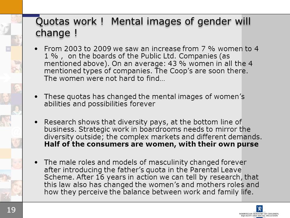 Quotas work ! Mental images of gender will change !