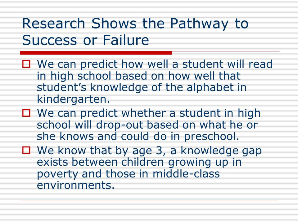 Research Shows the Pathway to Success or Failure