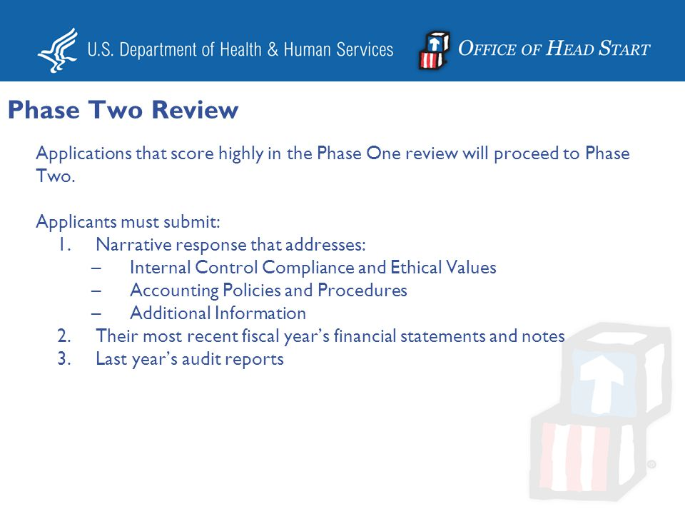 Phase Two Review Applications that score highly in the Phase One review will proceed to Phase Two. Applicants must submit: