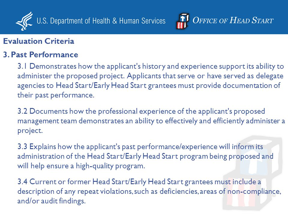 Evaluation Criteria 3. Past Performance