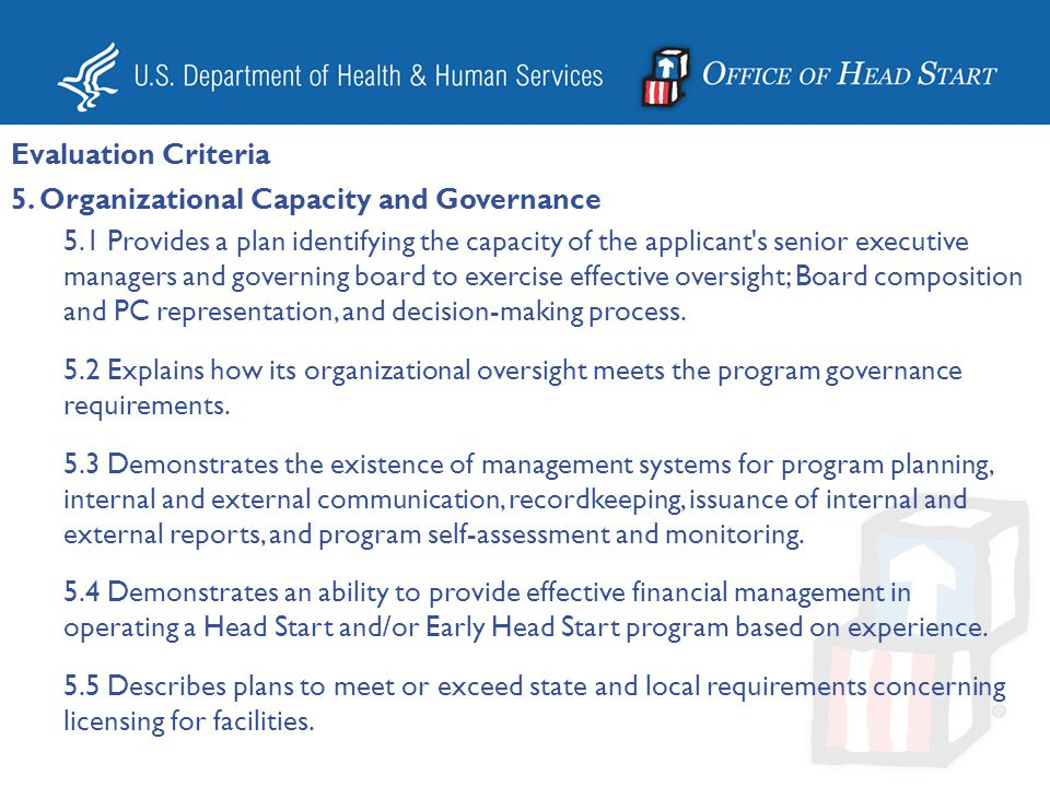 Evaluation Criteria 5. Organizational Capacity and Governance.