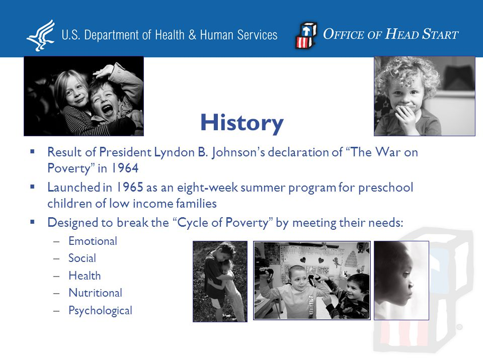 History Result of President Lyndon B. Johnson's declaration of The War on Poverty in 1964.