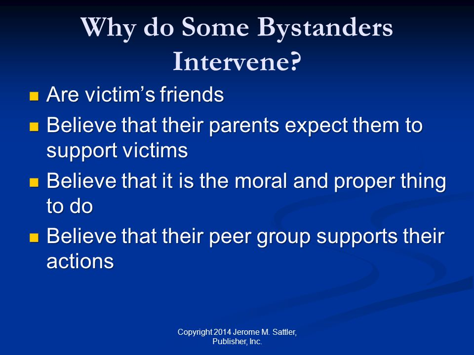Why do Some Bystanders Intervene