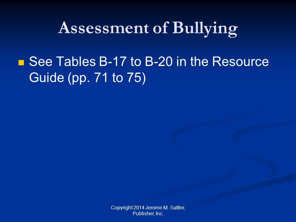 Assessment of Bullying