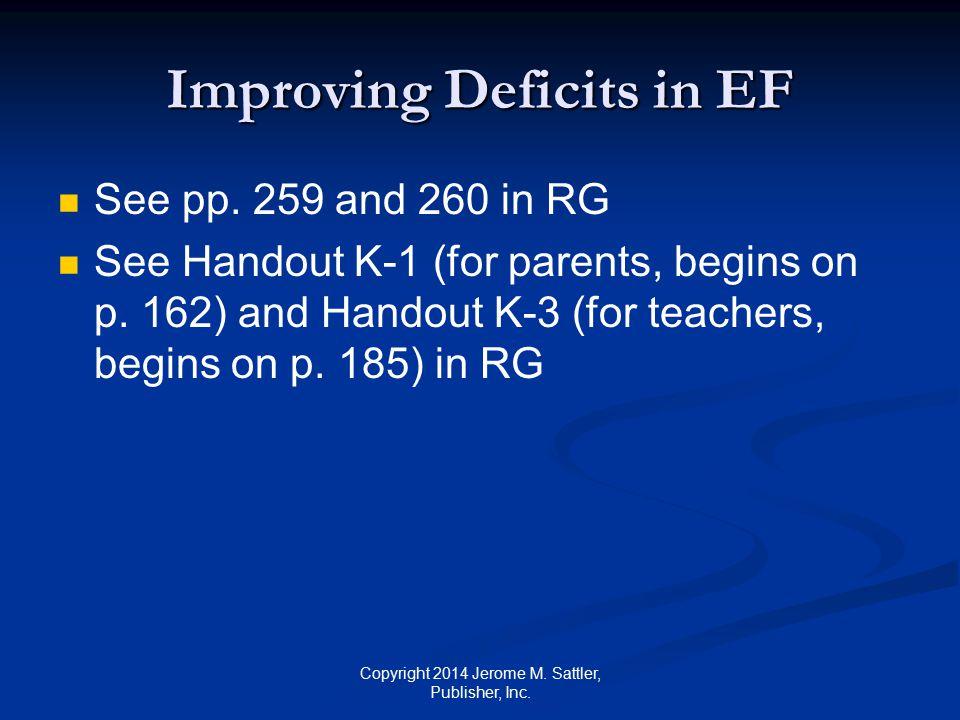 Improving Deficits in EF