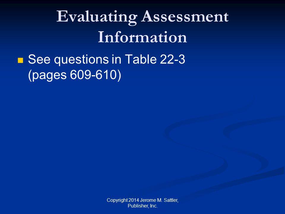 Evaluating Assessment Information
