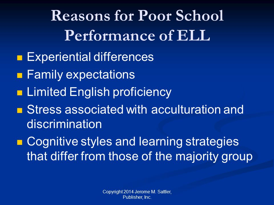 Reasons for Poor School Performance of ELL