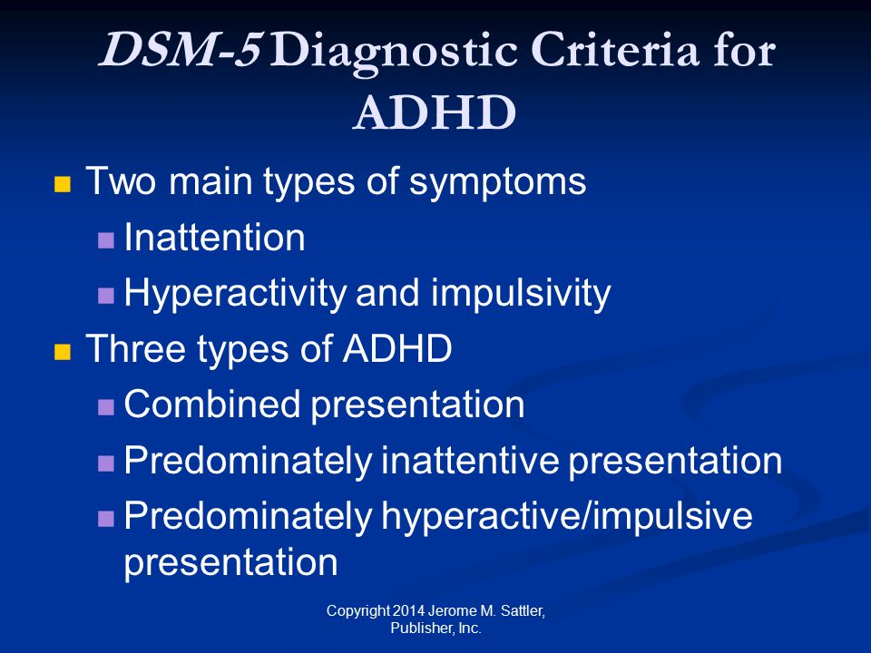 DSM-5 Diagnostic Criteria for ADHD