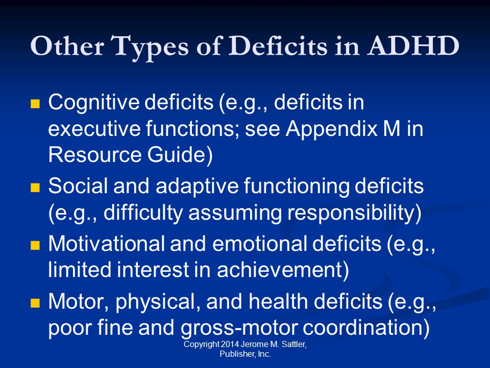 Other Types of Deficits in ADHD