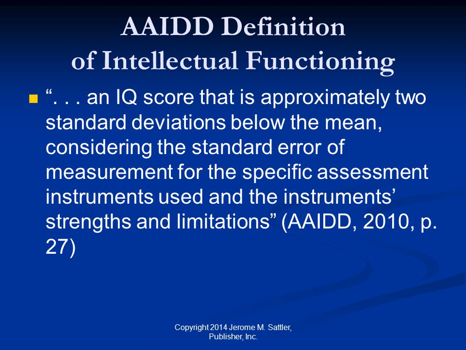 AAIDD Definition of Intellectual Functioning