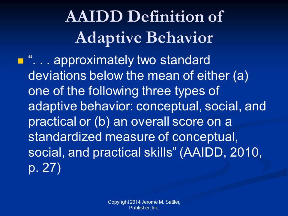 AAIDD Definition of Adaptive Behavior