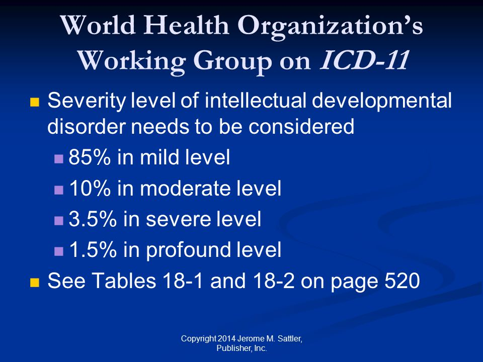 World Health Organization's Working Group on ICD-11