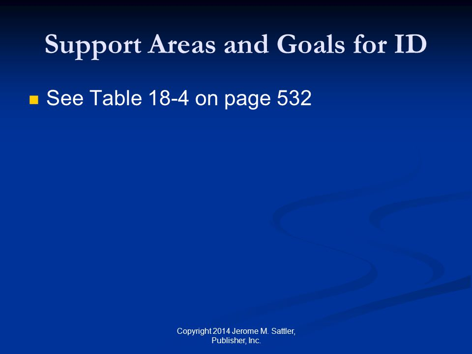 Support Areas and Goals for ID
