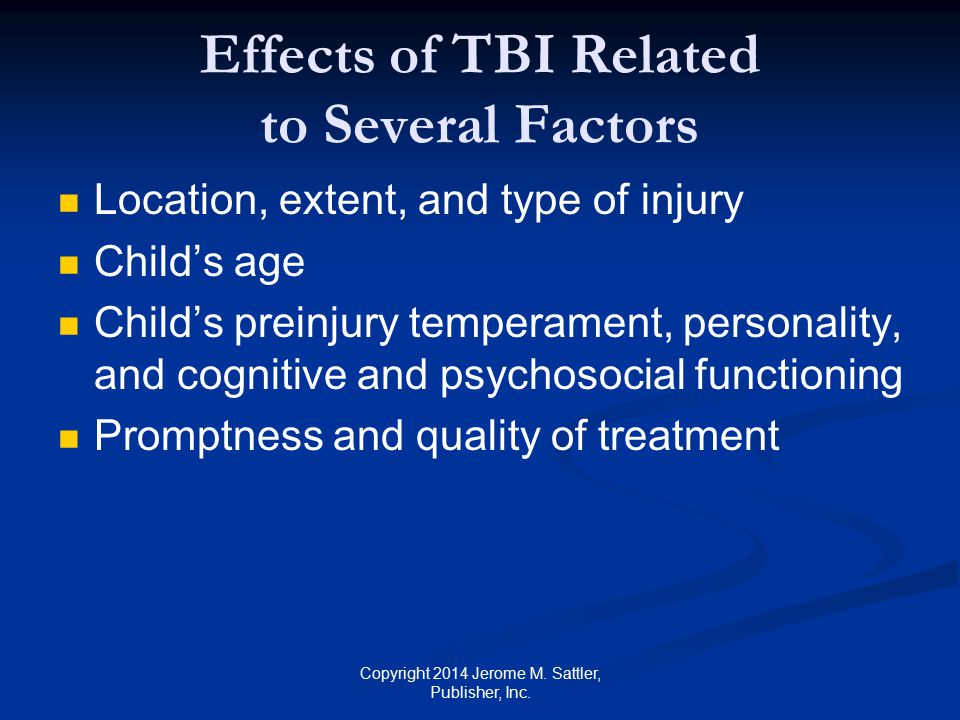 Effects of TBI Related to Several Factors