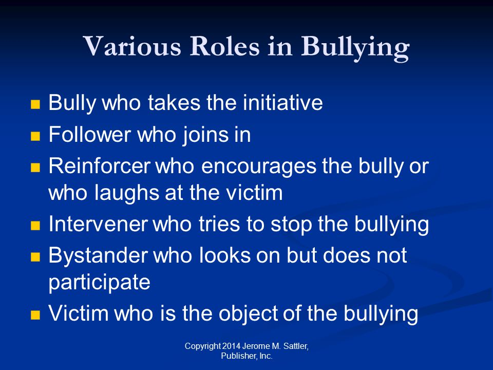Various Roles in Bullying