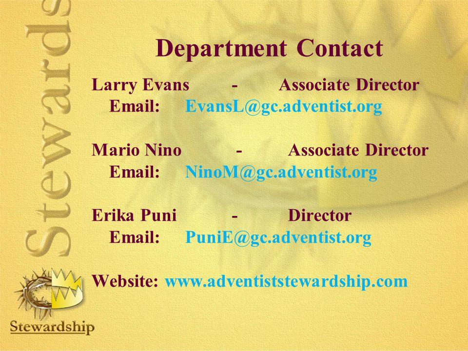 Department Contact Larry Evans - Associate Director