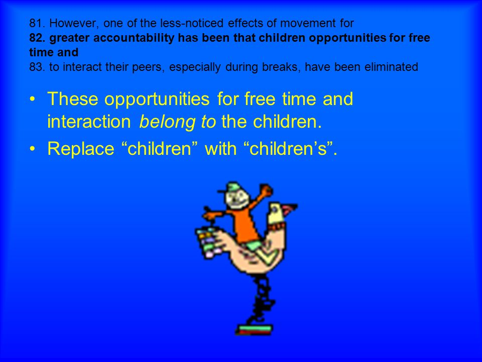 Replace children with children's .