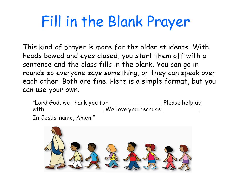 Fill in the Blank Prayer