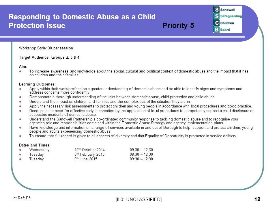 Responding to Domestic Abuse as a Child Protection Issue Priority 5
