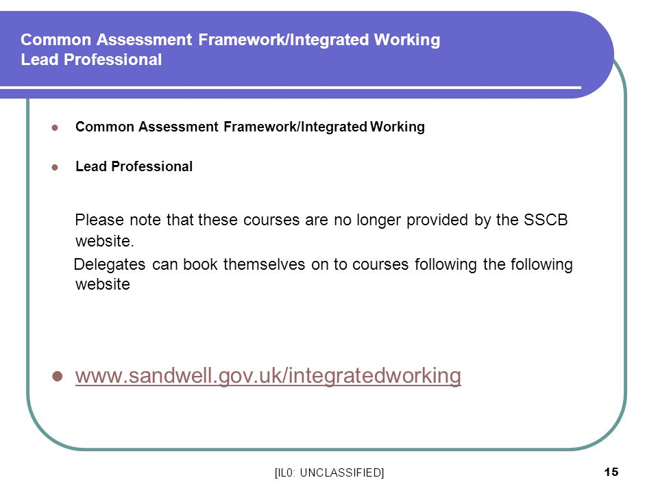 Common Assessment Framework/Integrated Working Lead Professional