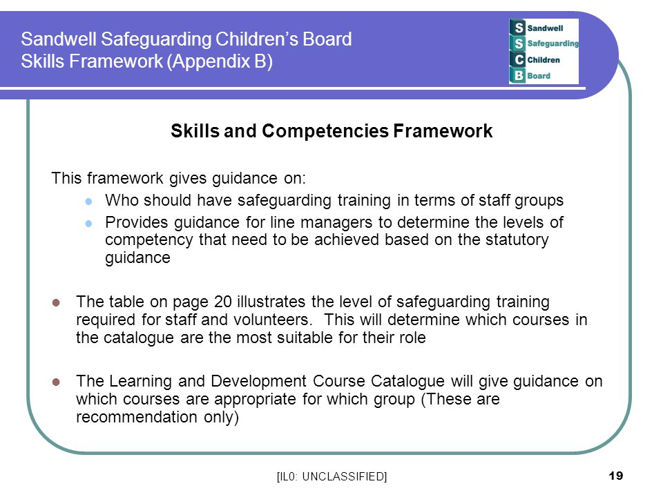 Sandwell Safeguarding Children's Board Skills Framework (Appendix B)