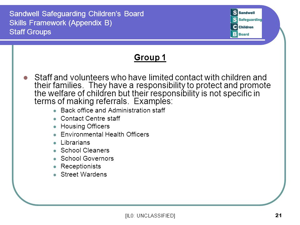 Sandwell Safeguarding Children's Board Skills Framework (Appendix B) Staff Groups