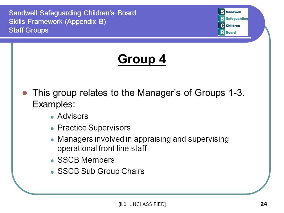 Group 4 This group relates to the Manager's of Groups 1-3. Examples:
