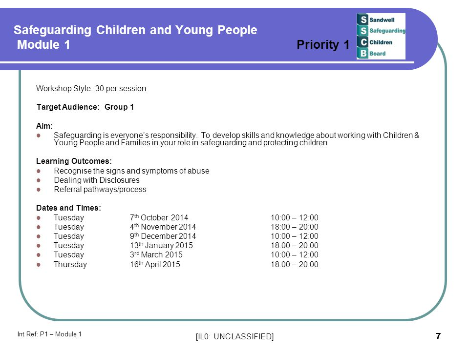 Safeguarding Children and Young People Module 1 Priority 1
