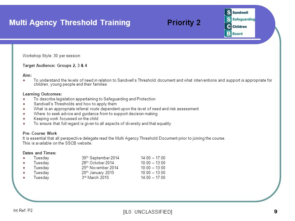 Multi Agency Threshold Training Priority 2